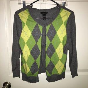 NY & Co Argyle Cardigan Sweater medium